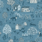 Grove by Makower UK - 6735 - Countryside Scenic in Blue  - 2159_B8 - Cotton Fabric